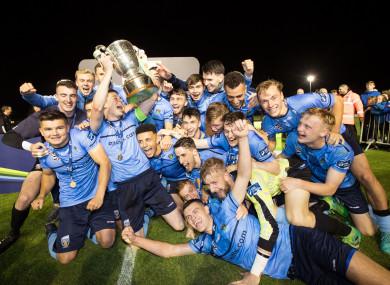 UCD celebrate winning.