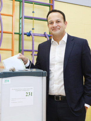 Taoiseach and Fine Gael leader Leo Varadkar voting yesterday.