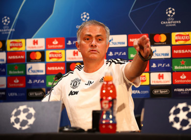 Mourinho during today's press conference.