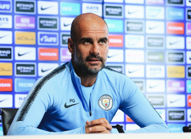 Guardiola speaking at his pre-match press conference.
