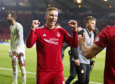 Lewis Ferguson celebrates Aberdeen's win on Sunday at Hampden Park.