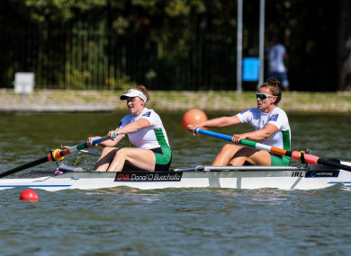 Aifric Keogh (right) and Emily Hegarty on their way to finishing sixth in the World Rowing Championships in September.