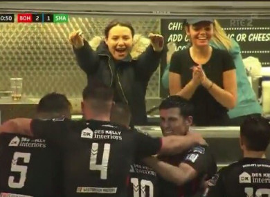 The Dalymount Park chip van ladies celebrate with Bohs' players.