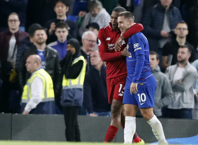 Chelsea's Eden Hazard and Liverpool's Daniel Sturridge after last Saturday's game.