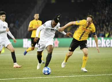Michy Batshuayi pictured competing against Young Boys.