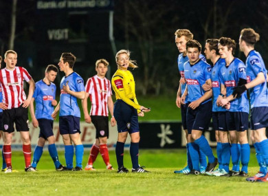Paula Brady referees an underage match between UCD and Derry City