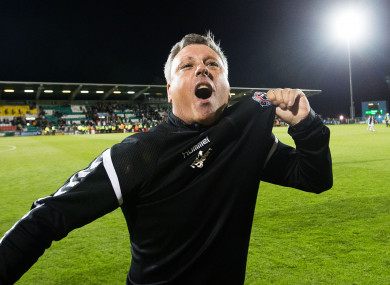 Bohemians manager Keith Long celebrates beating rivals Shamrock Rovers in August.