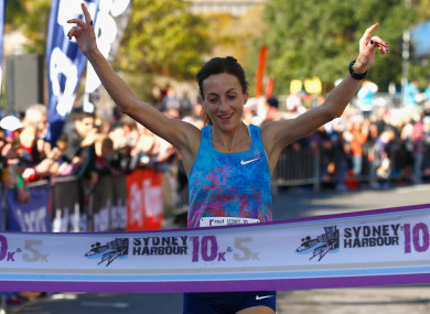 Sinead Diver pictured winning the Womens 10km race during Love Your Sister Run in Sydney last July.