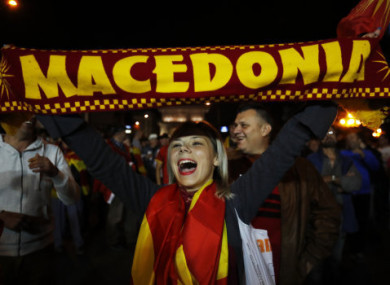 A Macedonian voter celebrates in the capital.