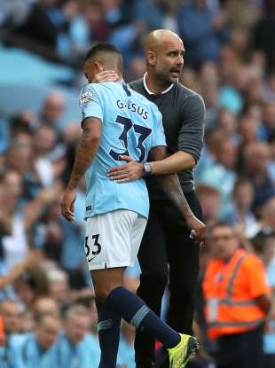 Gabriel Jesus (left) and manager Pep Guardiola (file pic).