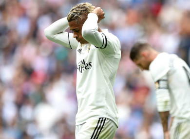 Mariano Diaz reacts during Real Madrid's game with Levante