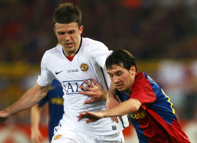 Carrick and Messi during the final in Rome.