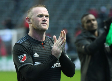 D.C. United forward Wayne Rooney (9) reacts after a game last weekend against the Chicago Fire.