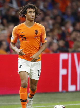 Dutch defender Ake in action against Germany over the weekend.