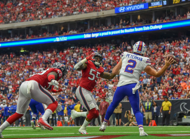 Peterman (right) had a meltdown against the Houston Texans.