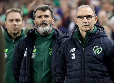 Roy Keane and Martin O'Neill before Saturday's Nations League game with Denmark on Saturday.
