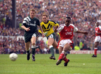 8b2c10249 Arsenal striker Ian Wright wearing the Adidas kit in 1992 with Liverpool s  Steve Nicol (left