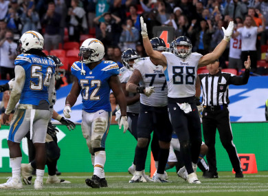 Tennessee Titans' Luke Stocker (right) celebrates a touchdown at Wembley.