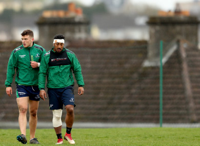 Farrell and Aki at the Sportsground for training last season.