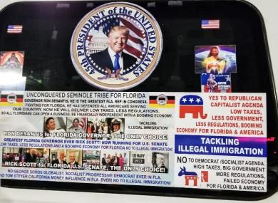 Pro-Trump signs on Sayoc's van.