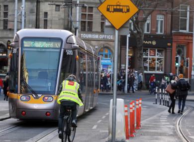 File photo of a Luas tram in Dublin city centre.
