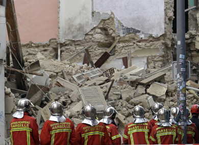 A building collapsed in the southern city of Marseille on Monday, leaving a giant pile of rubble and beams.