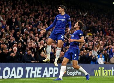 Morata celebrates his second goal against Palace.