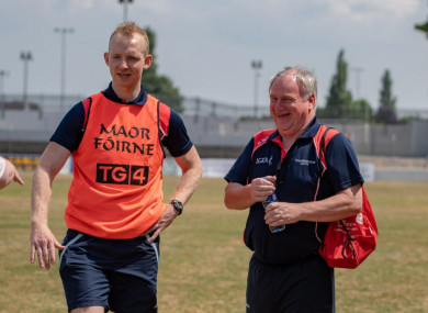Back at the helm: Darren Bishop and County Board chairman Dermot Woods.