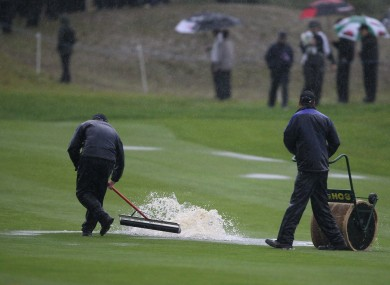 Rain has stopped play at Celtic Manor