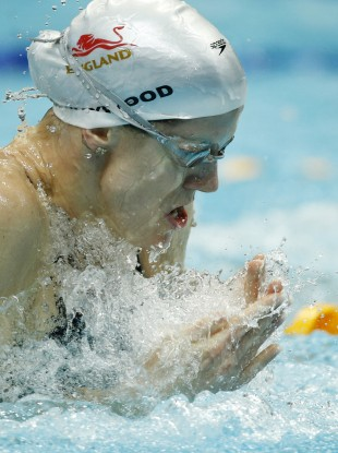 England's Kate Haywood competes in the Women's 50m Breaststroke final. 20% of her teammates have been affected by stomach bugs blamed on the quality of water in the S.P. Mukherjee Aquatics Centre.