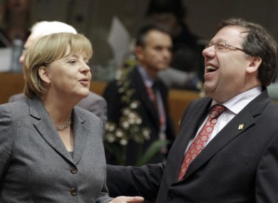 Brian Cowen will be hoping Angela Merkel's money will keep him laughing the way to the bank.