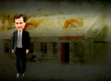 British Chancellor George Osborne is pictured dancing across the screen in front of a