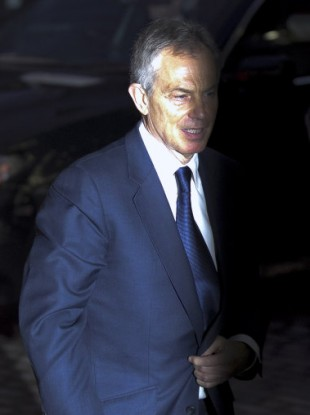 Former British PM Tony Blair arrives at the QEII Conference centre in London this morning to give his evidence in the Chilcot Iraq Inquiry.