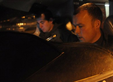 Captain Ed Hollingsworth and Captain Niall Goff prepare for takeoff from Casement Aerodrome, Baldonnel last night.
