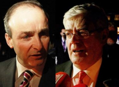 Micheal Martin and Eamon Gilmore arriving at TV3