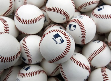 Baseballs for use in practice sit in a bin before the Washington Nationals' workout at Nationals Park this week.