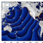 This chart from the National Oceanic and Atmospheric Administration shows the estimated time the tsunami will take to reach different parts of the Pacific. (NOAA)<span class=