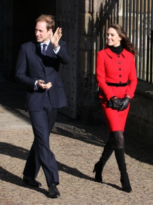 Prince William and Kate Middleton during a visit to St Andrews university