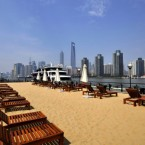 Shanghai has built an artificial beach at the south Bund. Pic: Zhang Yudong/Color China Photo/AP Images.