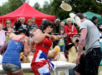 The World Custard Pie Championships take place in Kent, England earlier today.