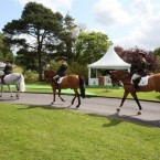 Horses take up positions prior to Queen Elizabeth II arriving at the Irish National Stud. (Pic: Paul Faith/PA Wire/Press Association Images)
