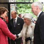 After finishing her ceremony at the Garden of Remembrance, the Queen and Prince Philip travel to Trinity College where they are met by the Chancellor of the University of Dublin, and former president, Mary Robinson. (Photo: Maxwells)