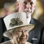 The Queen smiles as she is introduced to senior figures from the world of academia, as Trinity College provost John Hegarty looks on. (Photo: Maxwells)