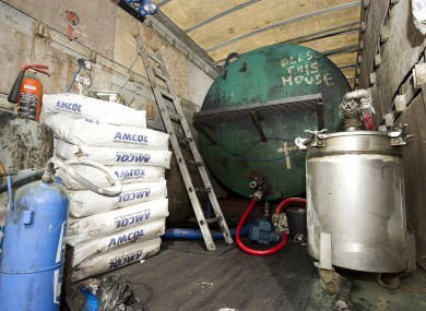 Some of the fuel laundering equipment discovered by Customs officials yesterday in Co Monaghan.