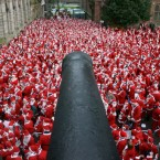 The record-breaking number of Santa Clauses at the Guildhall in Derry in 2007.