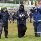 Pictured, from left, are David Colbert, Eddie Conlon and Donnie Coke from Wicklow enjoying themselves today. (Mark Stedman/Photocall Ireland)