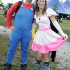 Andy McKeown and Sinead Campbell from Belfast all dressed up for Oxegen 2011. (Mark Stedman/Photocall Ireland)