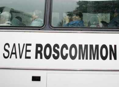 Protesters against the Roscommon Hospital cuts arrive in Dublin