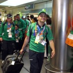 John Michael Gannon strolls through the terminal after a job well done.