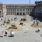 Sand sculptors exhibit 'Compass' in the courtyard of Dublin Castle this afternoon
